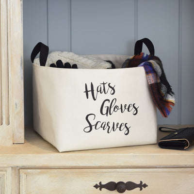Hats Gloves Scarves Canvas Storage Basket - A Southern Bucket