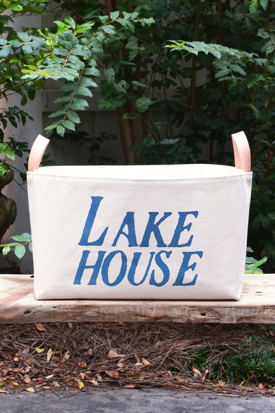 Lake House Canvas Storage Bin with Veg Leather Handles - A Southern Bucket