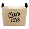 Personalized Toys Burlap Storage Bin, Black - A Southern Bucket - 3