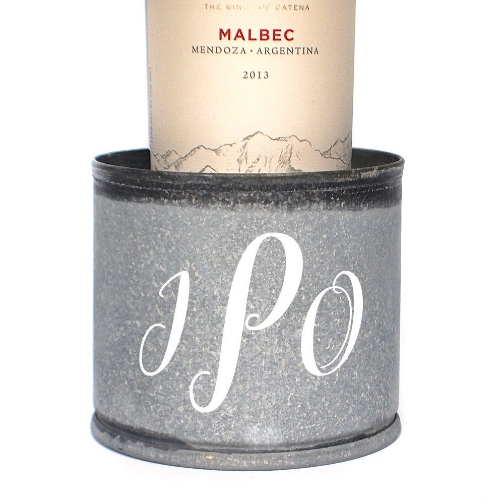 Triple Monogram Galvanized Wine Coaster