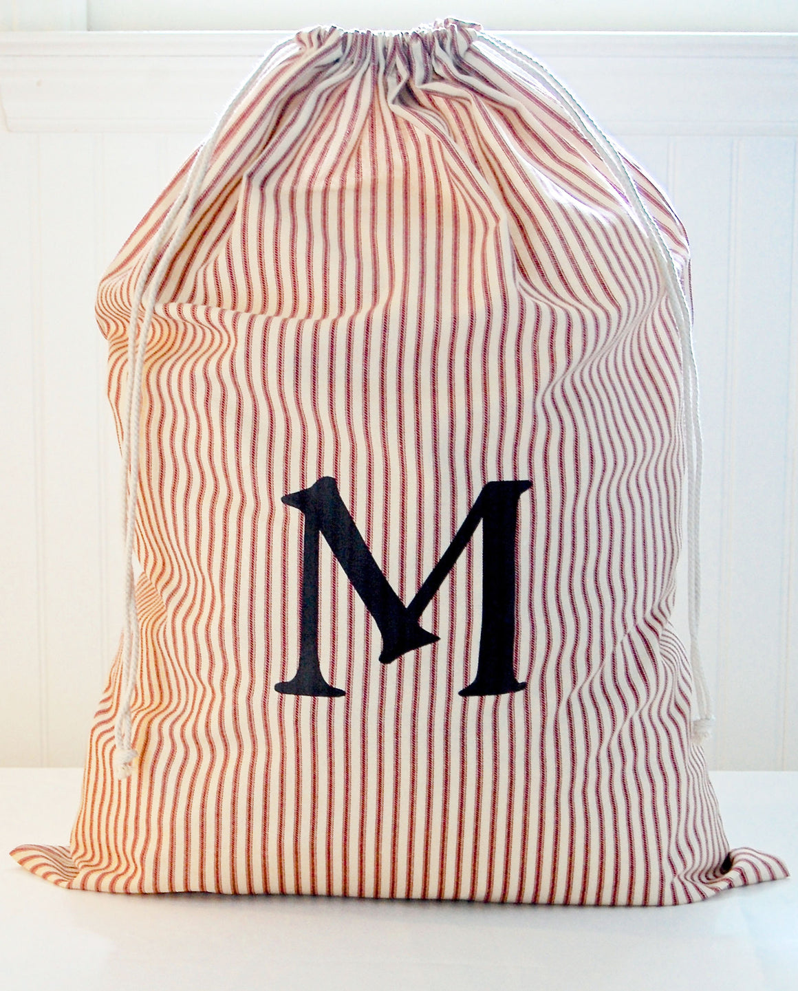 Monogrammed Laundry Bag, Red Striped - A Southern Bucket - 1