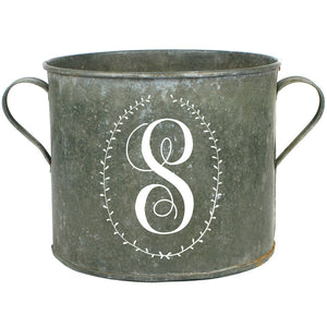 French Vintage Zinc Bucket with Laurel Wreath Monogram - A Southern Bucket
