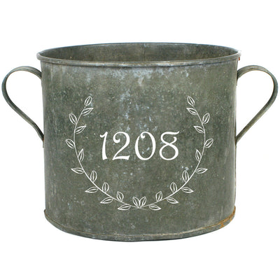 Personalized Laurel Vintage Zinc Bucket with Address Number