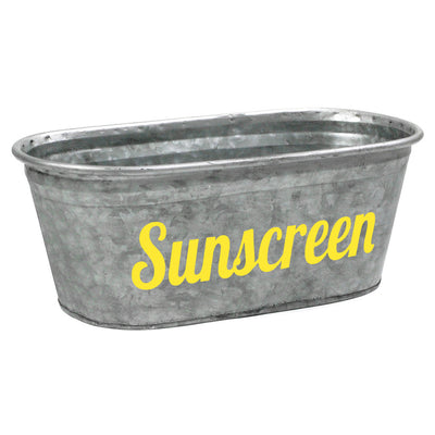 Sunscreen Decorative Metal Storage Bin - A Southern Bucket