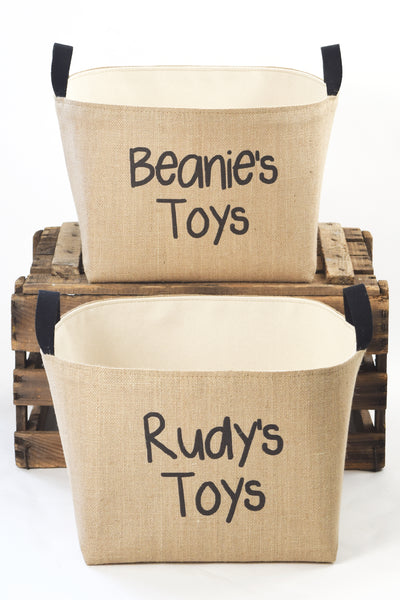 Personalized Burlap Toy Basket Hand Printed in Black - A Southern Bucket