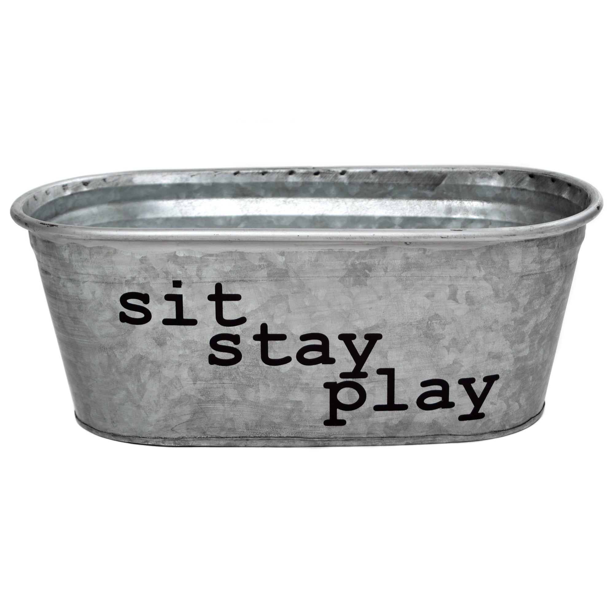 Sit Stay Play Dog Toys Decorative Metal Storage Bin   A Southern Bucket