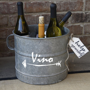 French Vintage Zinc Bucket with Vino Arrow Design - A Southern Bucket