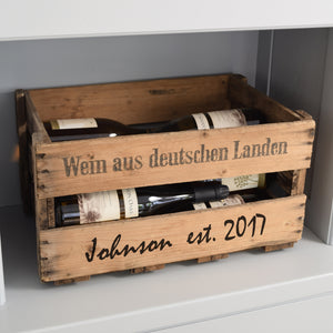 Personalized Vintage Wooden Wine Crate, Limited Edition