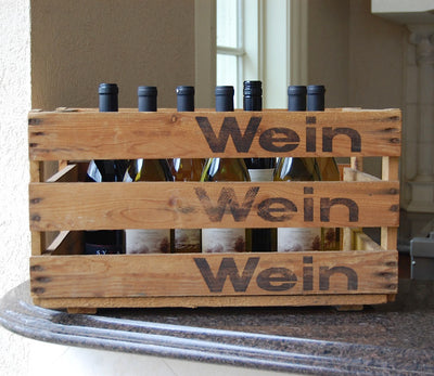 "Personalized Vintage Wine Crate ""Benz-Wein"" to store bottles"