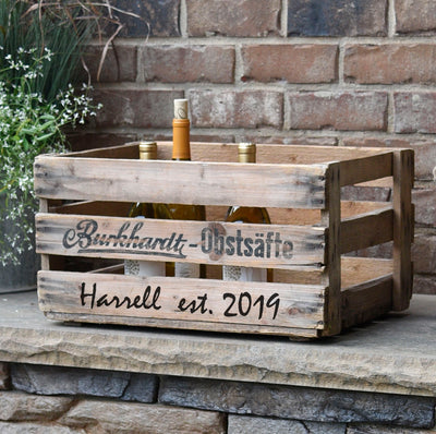 "Personalized Vintage Wine Crate ""Burkhardt-Obstsafte"" - A Southern Bucket"