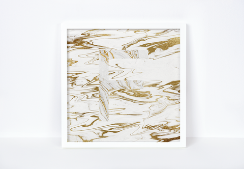 Liquid Gold Marble Letter Print, Letter F