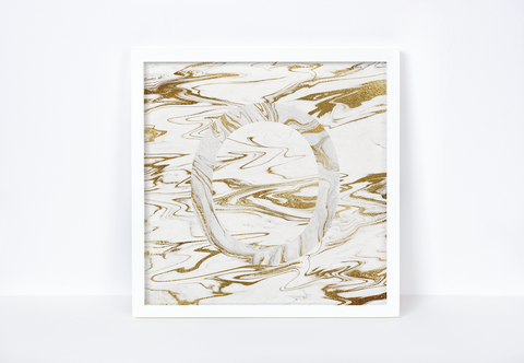 Liquid Gold Marble Letter Print, Letter O