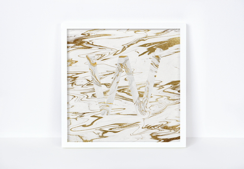 Liquid Gold Marble Letter Print, Letter W
