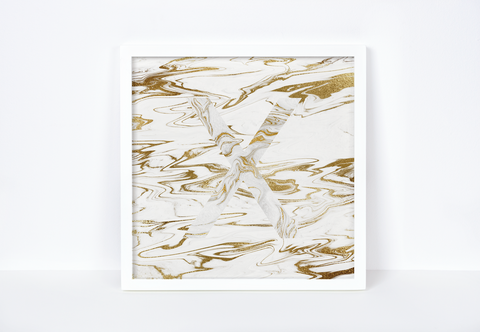 Liquid Gold Marble Letter Print, Letter X