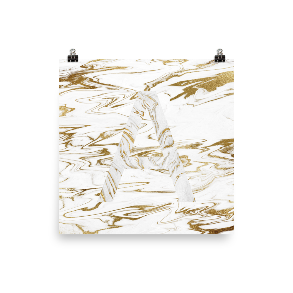 Liquid Gold Marble Letter Print, Letter A