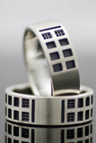 Sterling Silver TARDIS band ring
