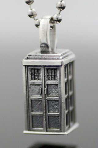 Sterling Silver TARDIS Pendant Necklace