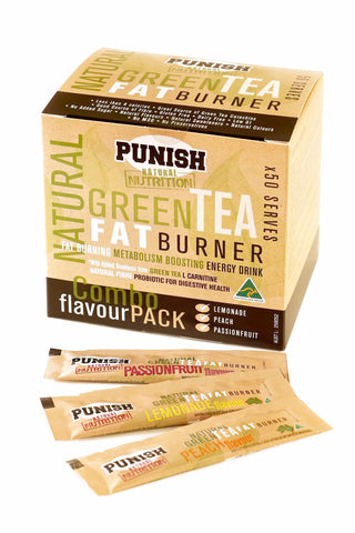 Punish Natural Nutrition Green Tea Fat Burner x 50 Serves Combo Pack (3 Flavours)