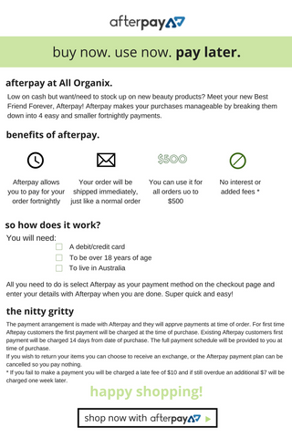 All Organix Afterpay