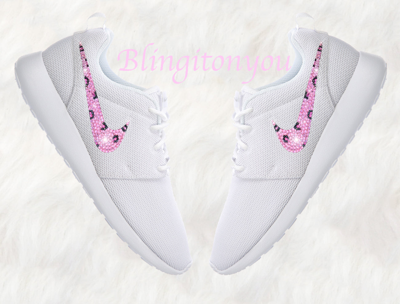 d08393fe6484 Swarovski Nike Roshe One Women s Shoes White Blinged Out With Leopard Pink  Swarovski - Swarovski Nike Shoes - Nike Bling Shoes