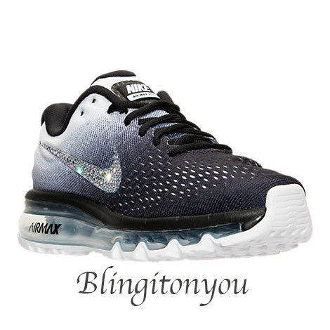 Bling Swarovski Nike Women's Air Max 2017 Black/White Shoes with Swarovski Crystals! Sparkly Nike Customized Shoes! Bling Women's Shoes - Blingitonyou  - 2