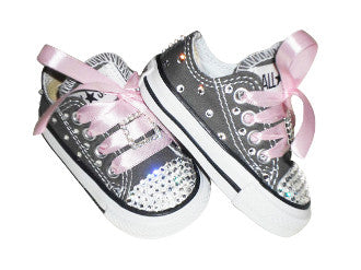 Gray Infant Converse Made With Swarovski Crystals - Blingitonyou  - 1