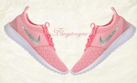 US Women's Size 7 Custom Swarovski Blinged Nike Juvenate Pink - Ready to ship