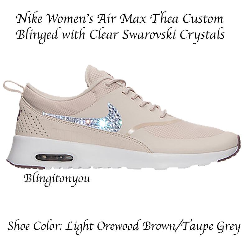 the best attitude 2bdcb aca60 Swarovski Nike Women s Air Max Thea (Light Orewood Brown) Blinged with Swarovski  Crystal Rhinestones