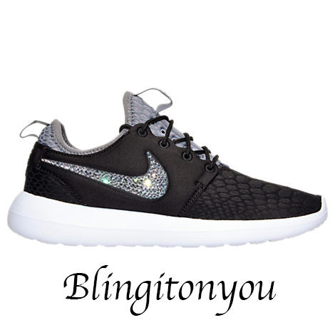 Nike Women's Roshe Two SE Black Shoes Blinged with Beautiful Swarovski Crystals Perfect Running, Wedding, Prom Bling Shoes! Gorgeous - Blingitonyou  - 1