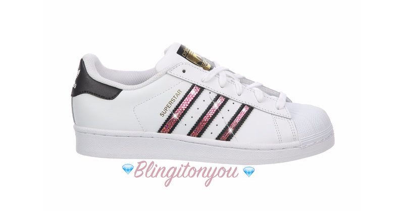 Women's Original Adidas Superstar Shoes with Beautiful PINK Swarovski Crystals - Blingitonyou  - 1