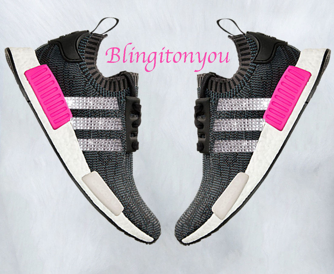 afbb4c755015d Swarovski Blinged Women s Adidas Black   Pink NMD R1 Primeknit Shoes Custom  Blinged with Swarovski Crystal Rhinestones