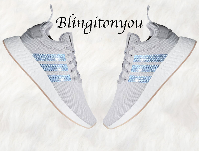 Grey Swarovski Adidas Originals NMD R2 Women's Bling Shoes