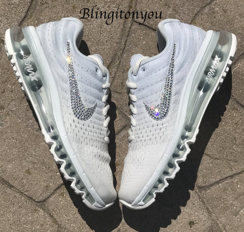 Blinged Women's White Nike Air Max 2017 Shoes Bedazzled with Swarovski Crystals