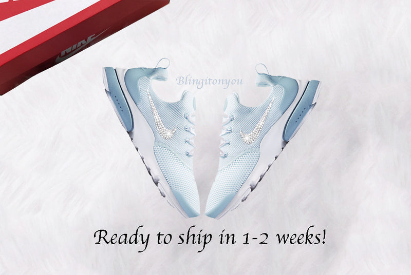 Swarovski Nike Women's Presto Fly Shoes Light Blue Custom Blinged with Swarovski Crystal Rhinestones | Nike Bling Shoes | Swarovski Nike