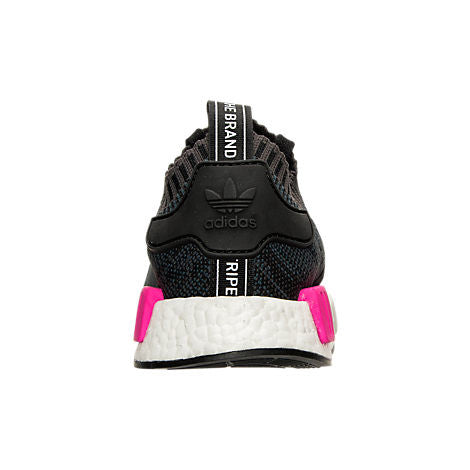 Swarovski Blinged Women s Adidas Black   Pink NMD R1 Primeknit Shoes Custom  Blinged with Swarovski Crystal Rhinestones 25369eb9c946