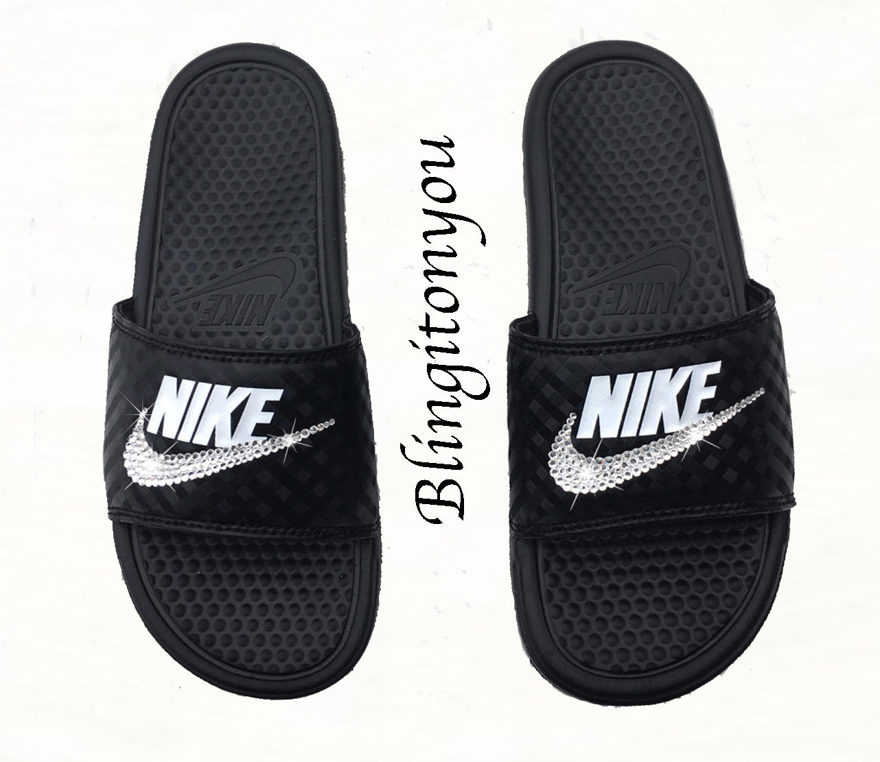 7a685d912e70 New Women s Swarovski Nike Benassi Black   White Slide Sandals Customized  with Clear Swarovski Crystal Rhinestones