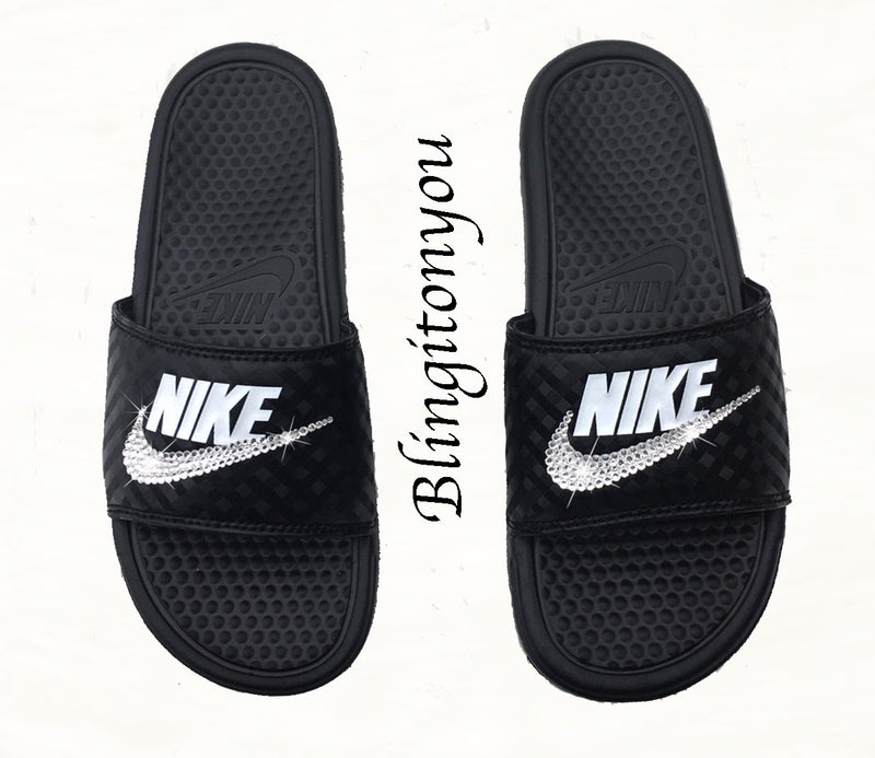 New Women's Swarovski Nike Benassi Black / White Slide Sandals Customized with Clear Swarovski Crystal Rhinestones | Nike Bling Sandals-Swarovski Sandals