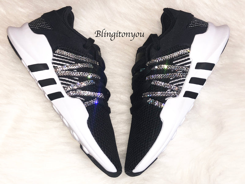 Bling Adidas Originals with Swarovski Crystals * Women's Originals EQT Racing ADV Runners Casual Shoes * Black/White