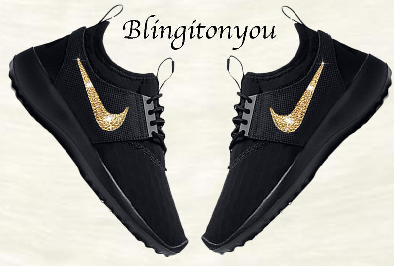 New Women's Swarovski Nike Black Women's Juvenate Shoes Custom Blinged with Gold Swarovski Crystal Rhinestones
