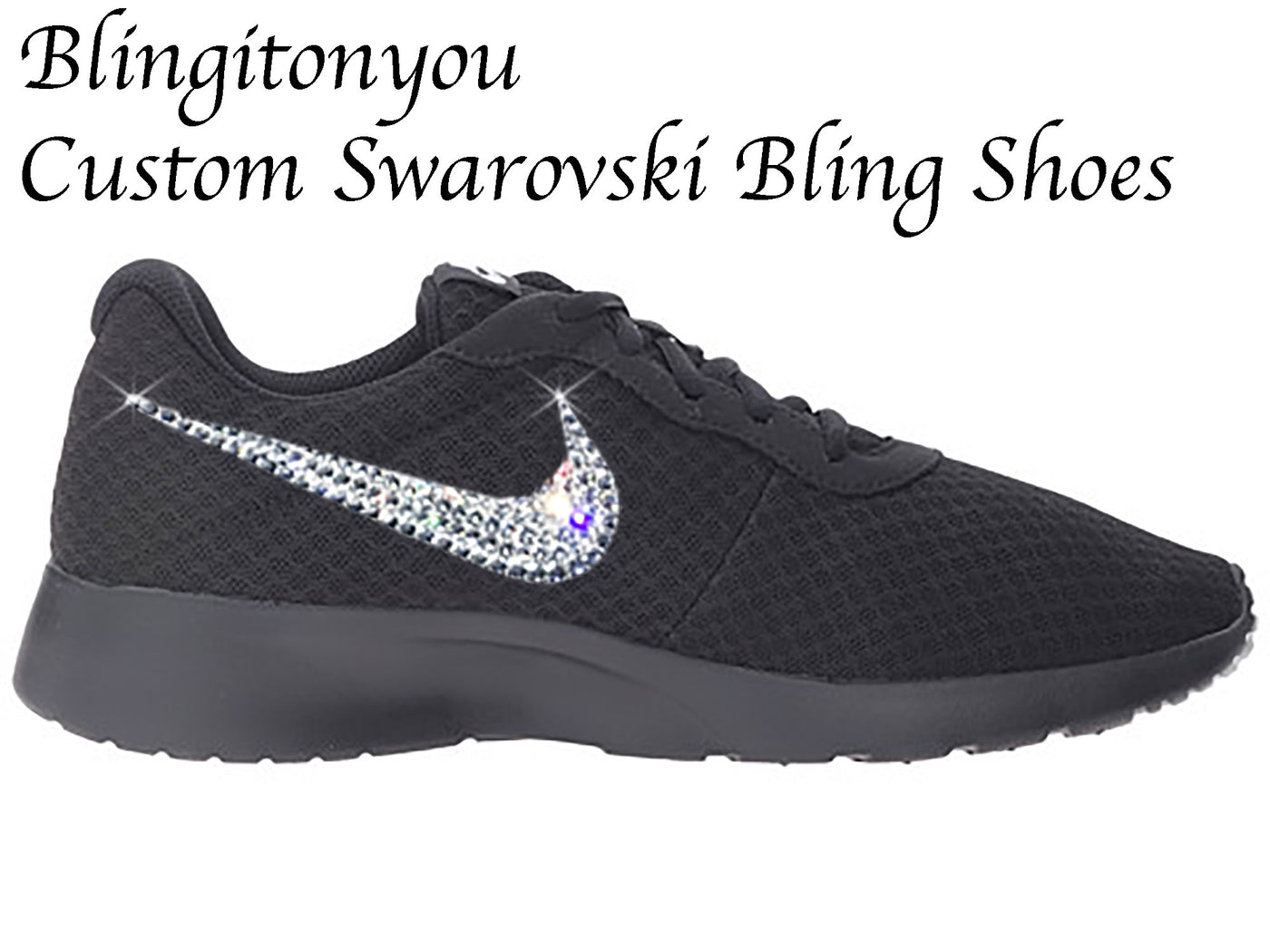 1292c811e93a Swarovski Nike Women s Tanjun Shoes (Black) Custom Blinged with Swarovski  Crystal Rhinestones