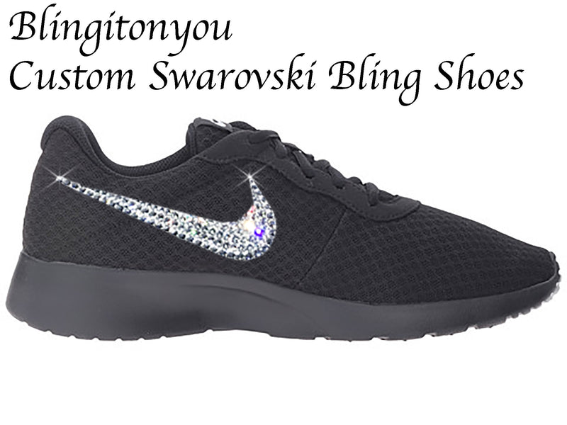 Swarovski Nike Women's Tanjun Shoes (Black) Custom Blinged with Swarovski Crystal Rhinestones