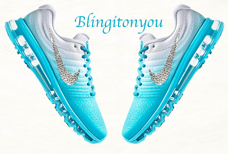 New Swarovski Nike Blue Women's Air Max 2017 Bling Shoes Customized with Crystal Clear Swarovski Crystal Rhinestones | Nike Bling Shoes