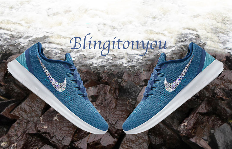 Swarovski Nike Free RN Running Shoes Blue Blinged Out With Swarovski Crystals - Bling Nike Women's Shoes - Blingitonyou  - 1
