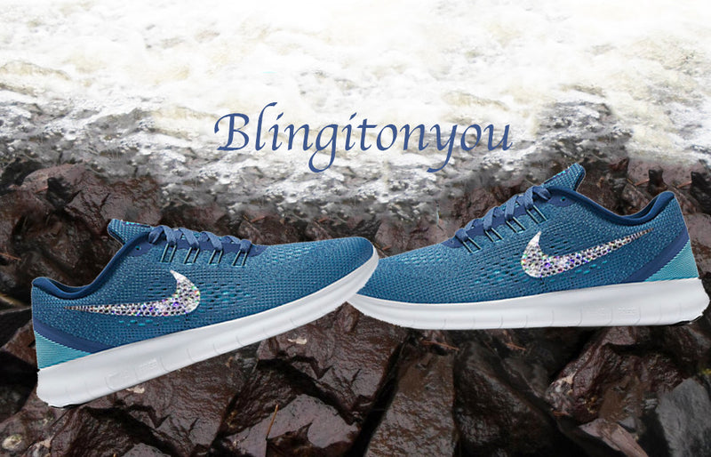 Swarovski Nike Free RN Running Shoes Blue Blinged Out With Swarovski Crystals - Bling Nike Women's Shoes - Blingitonyou  - 2
