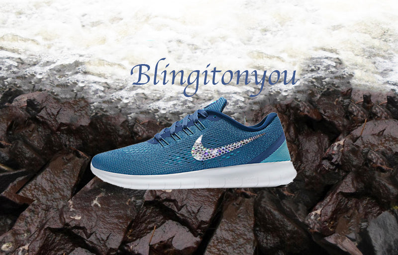 Swarovski Nike Free RN Running Shoes Blue Blinged Out With Swarovski Crystals - Bling Nike Women's Shoes - Blingitonyou  - 3