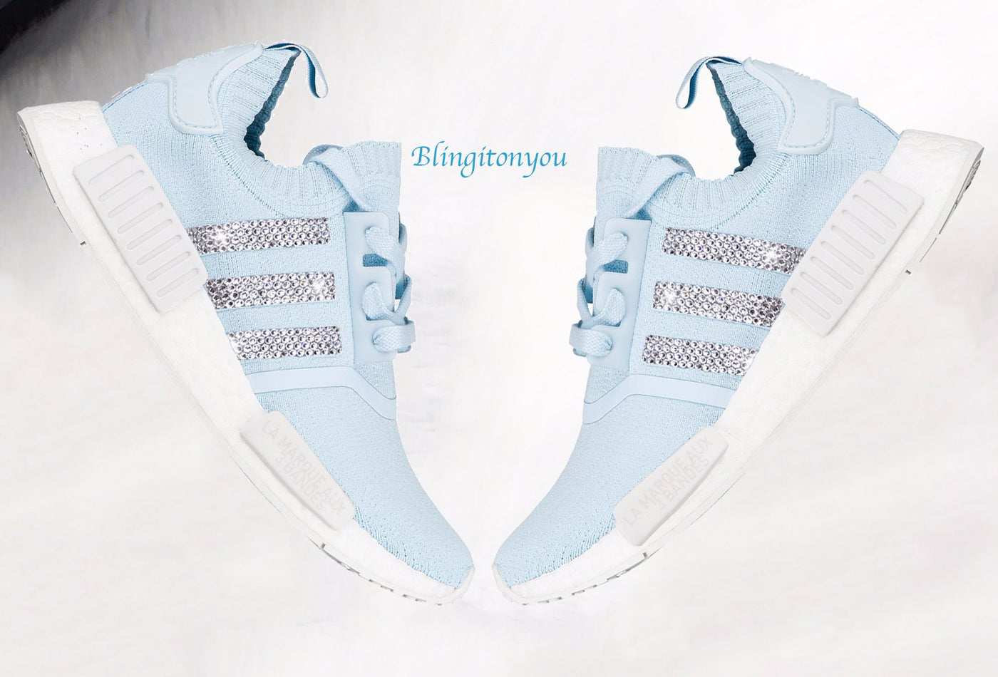 2450b6f75 Swarovski Adidas Originals Women s NMD R1 Primeknit Shoes Custom Bling –  Blingitonyou