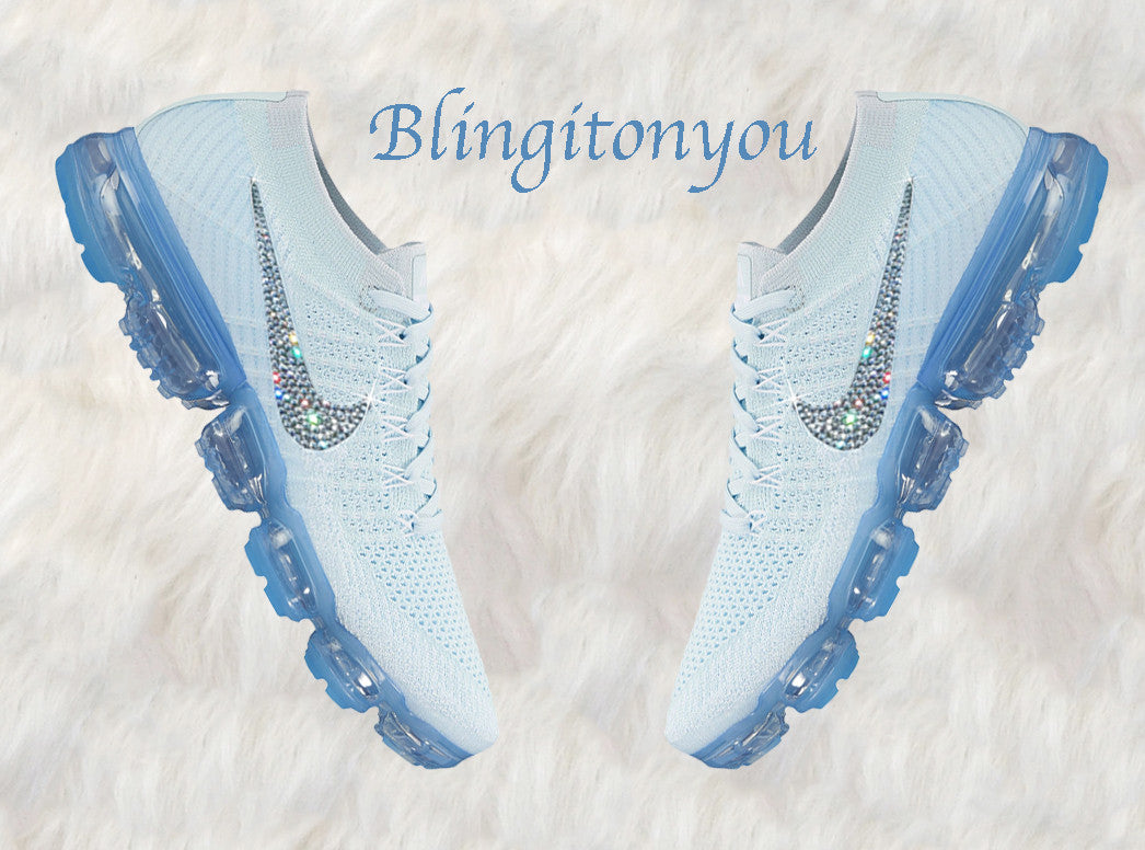 ac121bd56e7d Glacier Blue Nike Air VaporMax Flyknit Shoes Customized with Swarovski  Crystal Rhinestones
