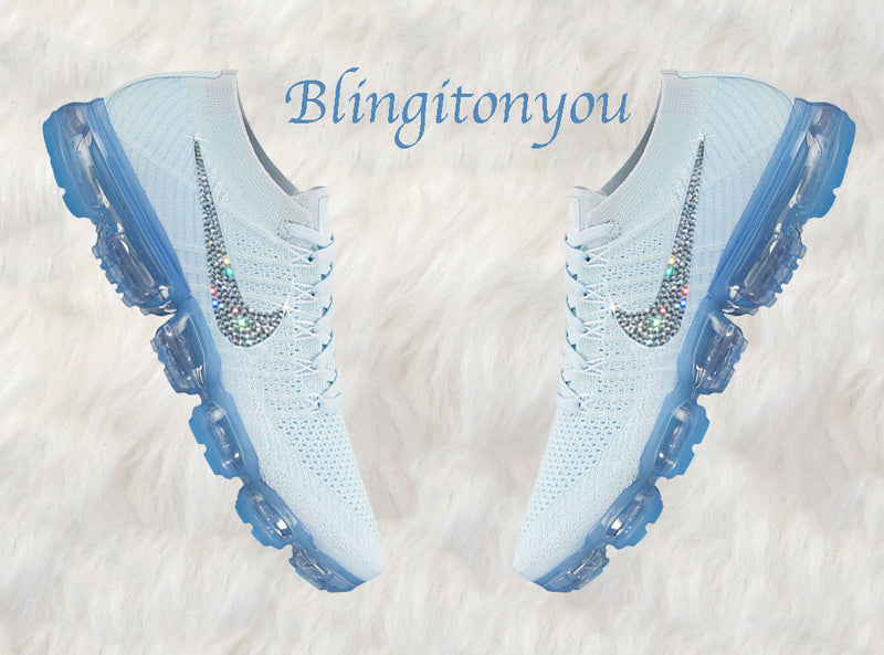 Glacier Blue Nike Air VaporMax Flyknit Shoes Customized with Swarovski Crystal Rhinestones | Swarovski Nike