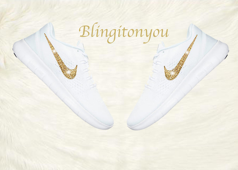 Swarovski Nike Free RN Running Shoes Blinged Out with Gold Swarovski Crystals - Bling Nike Women's Free RN with Gold Swarovski Crystals - Blingitonyou  - 1
