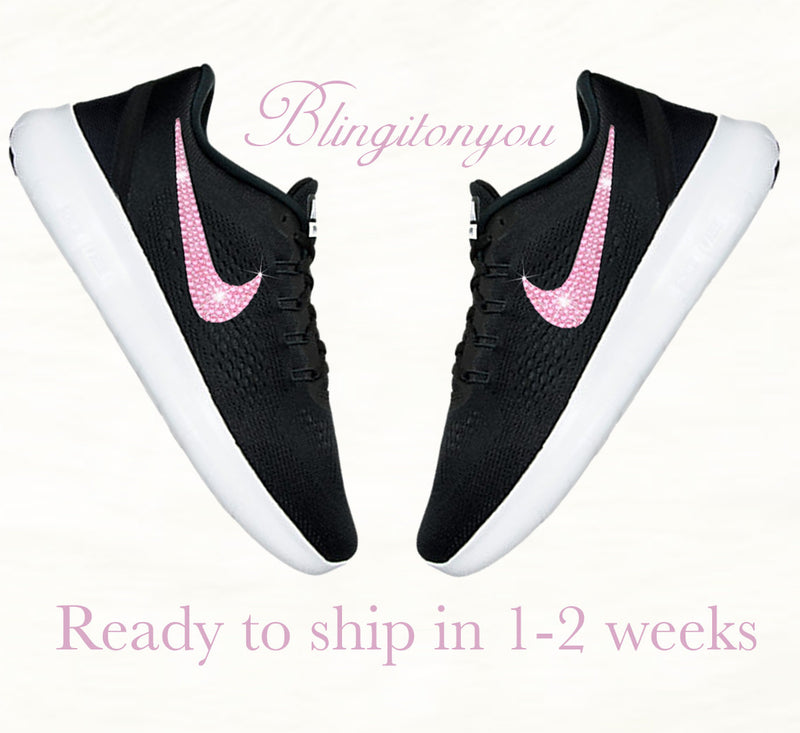 Black and White Nike Women s Free RN Running Shoes Blinged with Pink  Swarovski Crystals  37a982bfe7